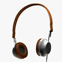 headphones leather steel 3d model