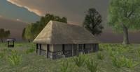 wooden hut medieval fantasy 3d 3ds