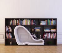 3d model bookshelf 28 books
