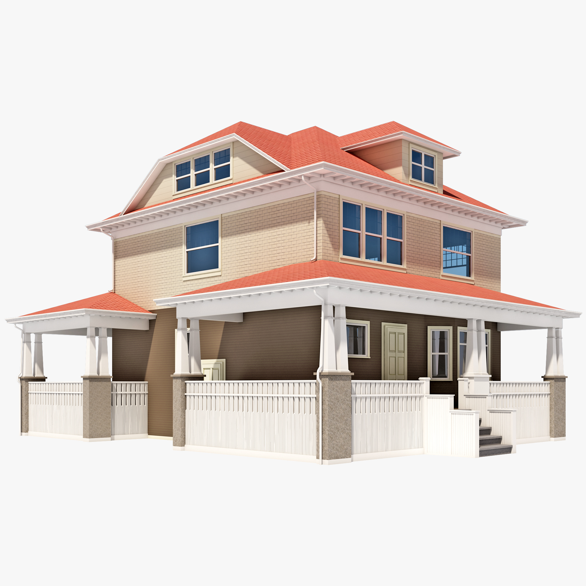 3d american foursquare house model for Americanhouse com