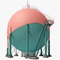 japan gas storage tank 3d lwo