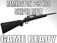 remington pss 700 sniper rifle 3d model