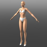 generic young woman 3d obj