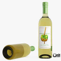 bottle wine white 3d model