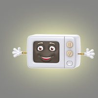 3d cartoon microwave model