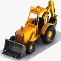 3d model cartoon excavator car