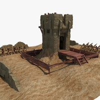 3d model of guard tower