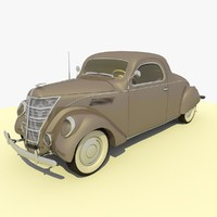 3d classic 1937 grey car model