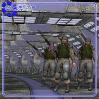hallway sci-fi poser figure 3d model