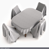 3d model drapped table stools