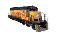 3d sd-40 union pacific train model