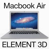 Apple Macbook Air 11 inch for Element 3D (Rigged)