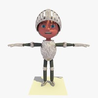 3d knight shining armor cartoon character model
