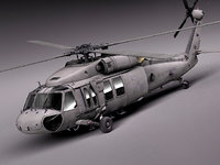 interior black sikorsky uh-60a 3d model