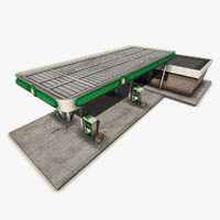 free gas station 3d model
