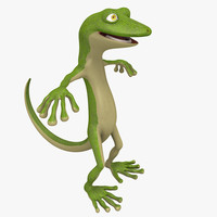 cartoon gecko toon character 3d obj