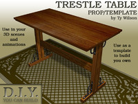 trestle table 3d 3ds