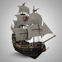 sailing galleon pirate 3d model