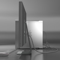mac pro wires plugged 3d model