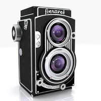 3d vintage flexaret camera lens model