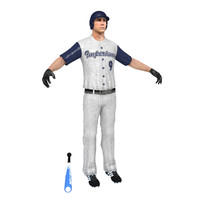 3d baseball player rigged model