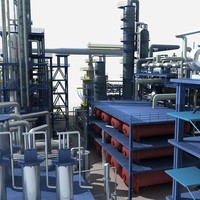 oil refinery 3d obj