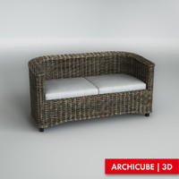3d model sofa wicker