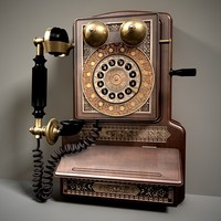3d model antique dial telephone