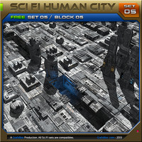 free scifi human city 3d model