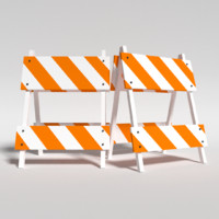3d construction barricade model