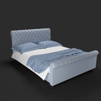 3d model bed bedroom pillow