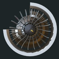 3d model turbofan engine