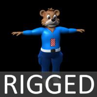 ma cartoon bear character rigged