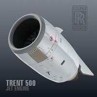 trent 500 jet engine 3d model