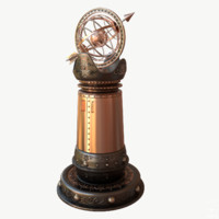 3d steampunk armillary pillar model