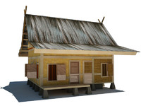 indonesian traditional house 3d model