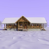3d model wooden cabin snow