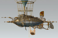 3d model steampunk steam dieselpunk airship