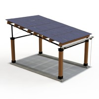 realistic solar car port 3d model