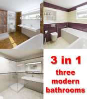 three modern bathrooms
