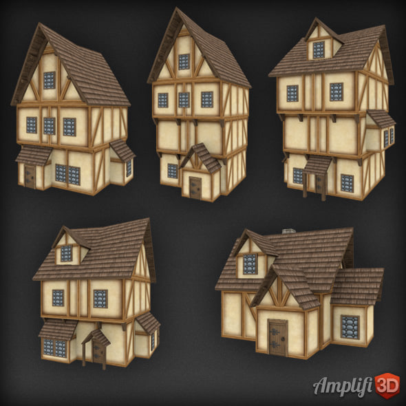 Low Poly Medieval Town House Set