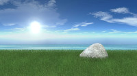 3d model landscape grass rock