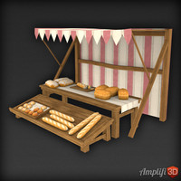 Low Poly Market Stall Bread