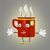 cartoon cup 3d obj