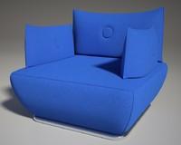 s600 sofa blu 3d model