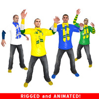 rigged brazil soccer animation characters 3d model