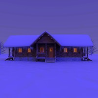 wooden cabin snow night 3d c4d