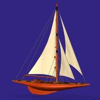 3d j-class yacht wc