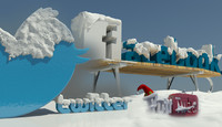 social media winter logo 3d model