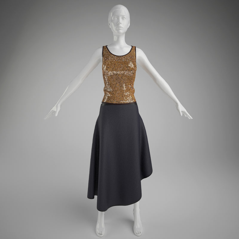 3d woman clothes skirt mannequin model